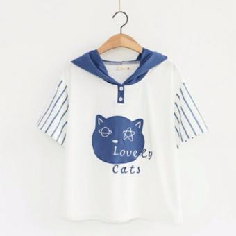 Áo khoác hoodie nữ tay ngắn mũ tai mèo xanh LTTA213