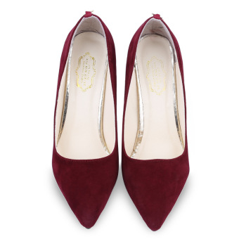 Ladies High Thin Heels Shoes Pointed Toe Red Bottom (Wine Red) - - intl