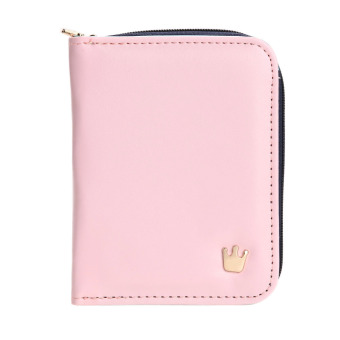 New Korean Ladies PU Leather Short Zipper Matte Color Blocking Wallets Card(Pink) - intl