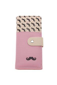 LALANG Women's Moustache Beard Zipper Leather Long Purse Wallet Card Pink - intl