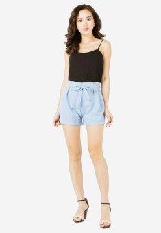 Bộ Áo Thun Hai Dây Dạng Mảnh Nữ + Quần Shorts Tây Giả Váy Nơ