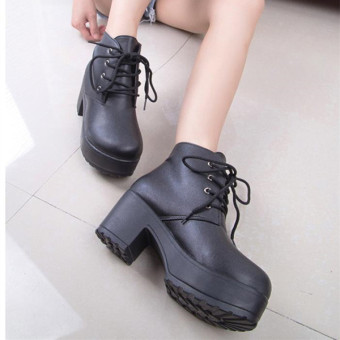 2015 New Lady Women Chunky Platform Boots Mid Block Ankle Casual Shoes Lace up - Intl - Intl