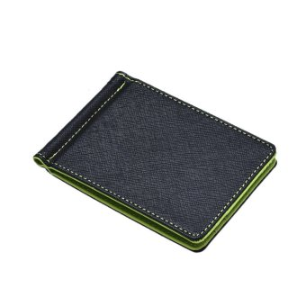 Mens Leather Silver Money Clip Slim Wallets Black ID Credit Card Holder Green