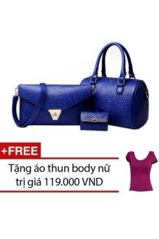 Bộ 3 túi xách nữ da thật họa tiết hoa văn hàng nhập cao cấp (Xanh) + Tặng 1 áo thun body nữ