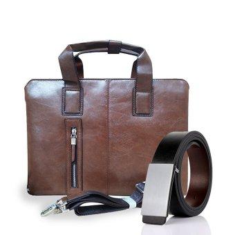 Bộ túi xách laptop và thắt lưng da hai mặt cao cấp Hanama MPT999 (Nâu)