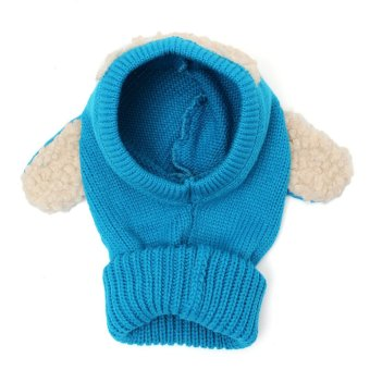 Winter Beanie Baby Kids Boy&Girl Warm Hat Hooded Scarf Earflap Knitted Wool Cap Blue (Intl)
