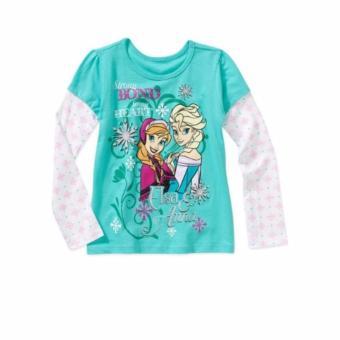 Áo thun tay dài bé gái Disney Frozen Elsa Anna Strong Heart size 4