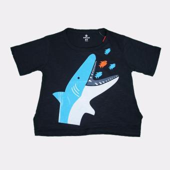 Áo thun trẻ em AntiX màu đen in hình cá mập