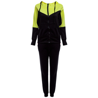 Women Casual Hooded Color Block Loose Twin set(Yellow) - intl