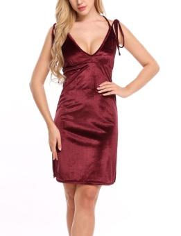 Cyber Women V-neck Strap Sexy Sheath Velvet Dress Backless Party Club Mini ( Wine Red ) - intl