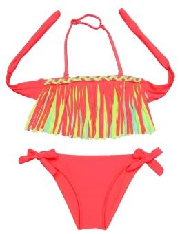 Cyber New Kids Girls Summer Sexy Swimsuit Tassel Bikini Set Bathing Beachwear Swimwear ( Red ) - intl