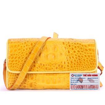 HL6262 - Túi đeo nữ da cá sấu Huy Hoàng màu vàng nghệ