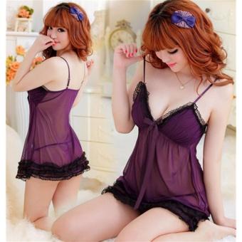 Đầm ngủ 2 dây quyến rũ midnight CDAN13 Kim Phát (tím than)