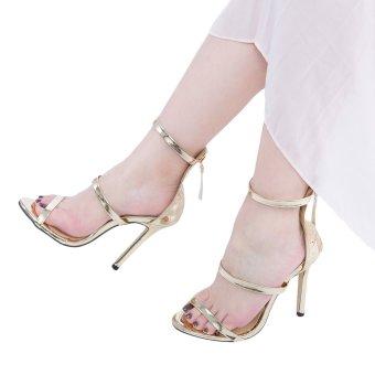 Sexy Strap Zipper Decoration Thin High Heel Gladiator Sandals(Golden) - intl