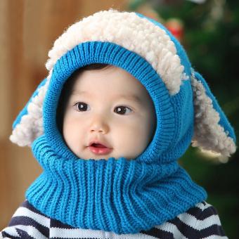 Winter Beanie Baby Kids Boy Girl Warm Hat Hooded Scarf Earflap Knitted Wool Cap Blue - intl