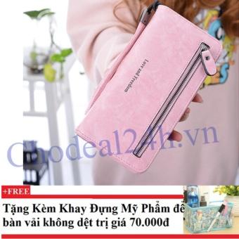 Ví cầm tay nữ nhiều ngăn CDV01 (hồng) + Tặng kèm khay đựng mỹ phẩm để bàn