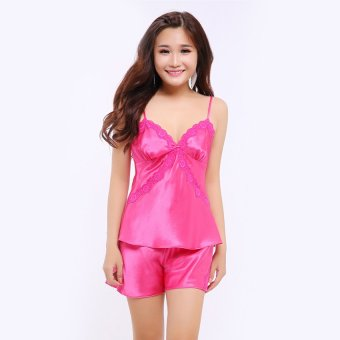 Đồ bộ mặc nhà quần sọt satin 2 dây nữ tính Wannabe BS88C (Hồng Sen)