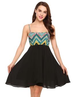 Cyber Women Strappy Geometric Patchwork Swing Chiffon Short Dress ( Black ) - intl