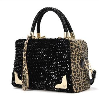 Women Sequin Leopard Messenger Cross Shoulder Bag Handbag HandBag Black - Intl