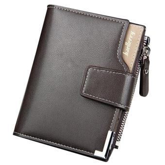Men Vertical Multipurpose Three Fold Change Credit Cards Holder Wallet PU Leather Magnetic Clasp Zipper Purse Brown - intl