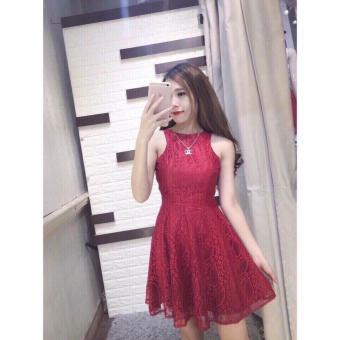 Đầm ren xòe cổ tròn (đỏ)