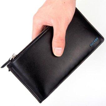 Men Leather Card Cash Receipt Holder Ultra-Thin Zipper Wallet Purse black - intl