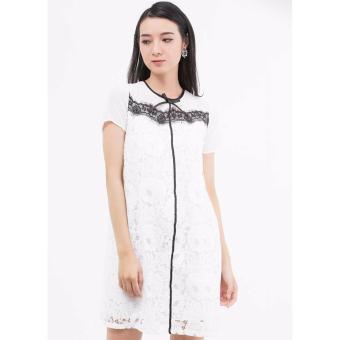 Đầm Suông Amun Tay Ngắn Phối Ren Dmi105 (Trắng)