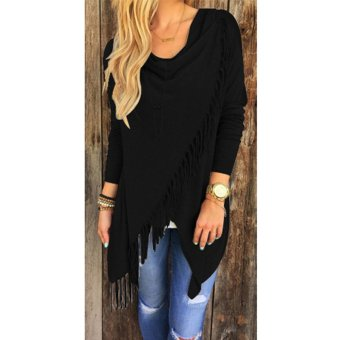 Women Long Sleeve Knitted Cardigan Loose Black - intl