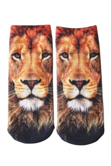 Bluelans Unisex Fashion 3D Lion Printed Patterns Anklet Socks Hosiery 1 Pair (Intl)