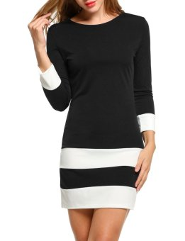 Linemart Women Casual 3/4 Sleeve Patchwork O Neck Pullover Color Block Dress ( Black ) - intl