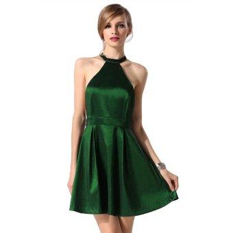 Sunweb Zeagoo Ladies Women Sexy Sleeveless Back Hollow Beads Decor Pure Color Slim Mini Club Party Pleated Dress ( Green ) - intl