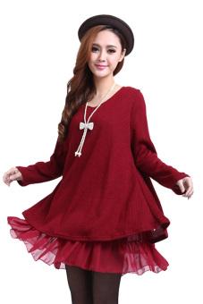 Knit Wool Long Sleeve Mini Dress (Red) - Intl