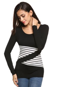 Sunwonder FINEJO Ladies Women Casual Long Sleeve Stretch Bodycon Patchwork Slim Leisure Basic Tops T-shirt (Black) - intl