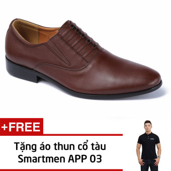 Giày Da Nam Công Sở Smartmen Gl-0956 (Nâu) + Tặng Áo Thun Nam App03