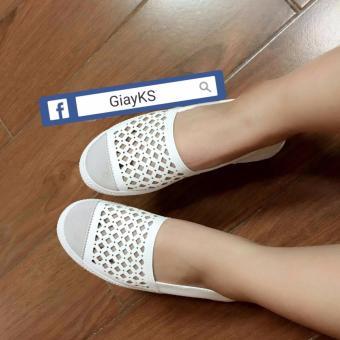 Giày lười nữ da đục lỗ - GiayKS - SLL001 (trắng)