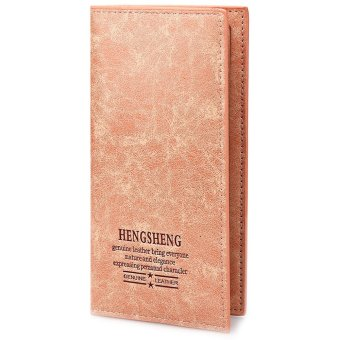 Solid Color Letter Embellishment Soft Open Long Vertical Wallet for Men Women - intl