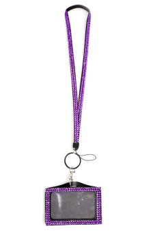 HKS Hot Resin Rhinestone Work Card ID Case Crystal Holder Lanyard Sling - intl