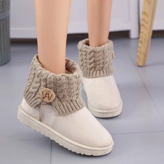 Women's Winter Wool Short Suede Booties Warm Shoes Knit Thicken Ankle Snow Boots Beige - intl