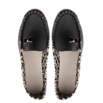 OH HOT Women Leather Leopard Casual Slip On Dolly Ballet Flat Heel Loafer Shoes Black - intl