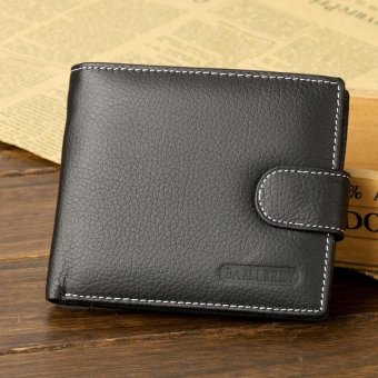Fashion Soft Genuine Cow Leather Wallet Men Wallets Coin Purses Credit Cards Holder Pocket Billetera Hombre, Black - intl