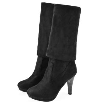 Sunwonder Women's Shoes Over the Knee Thigh Stretchy High Heels Boot Four Size Black Sexy