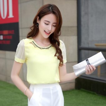 2017 new fashion ladies Chiffon Shirt Short Sleeved loose Chiffon T-shirt dress shirt summer thin coat - intl