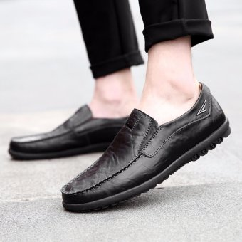 Jarma man's loafers slip-Ons shoes driving shoes male shoes flat moccasin Tods (Black) - intl