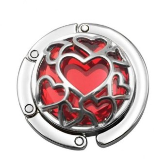 BolehDeals Desk Table Crystal Heart Design Purse Handbag Hanger -- Red - intl