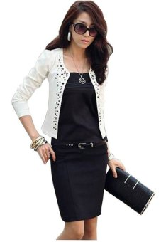 Women Coat Suit OL Long Sleeve Rivet Short Jacket - Intl
