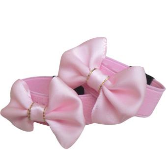 Kids Girls Bowknot Style Anti-slip Shoes Belt Elastic Shoe Strap Band Laces Shoe Decoration Accessories Pink S - intl