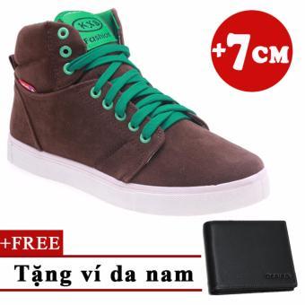 Giày Tăng Chiều Cao Nam 7CM + Tặng 1 ví da
