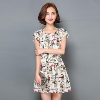 Đầm nữ ngắn xòe nhún eo cột eo cổ tròn không tay họa tiết Urban Horizon FM0094 (Vani)