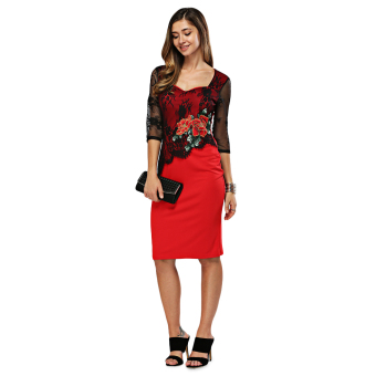 Elegant Sweetheart Neck Floral Embroidery Sheath Dress for Women(Red) - intl