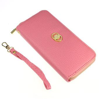 Women Fashion PU Leather Wallet Zip Around Purse Long Handbag Pink